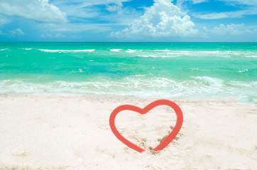 Wall Mural - Valentine's day background on the Miami beach