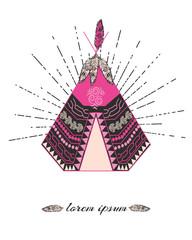 Tribal logo with teepee vector illustration and sunburst