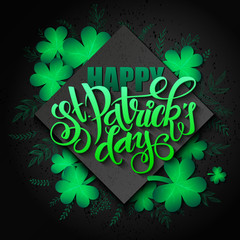 vector hand lettering saint patricks day greetings card with rhombus, clover shapes and branches
