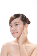facial makeup of young asian beautiful woman