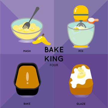 BAKE KING FOUR The illustration show how to make banana muffin loaf.