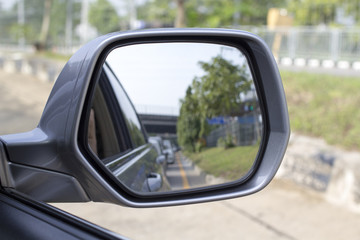 Side rear-view mirror on a modern car