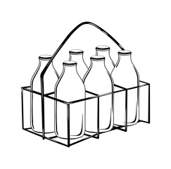 milk bottle case in black outline-vector drawing