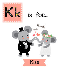 Cute children ABC alphabet K letter tracing flashcard of Kiss for kids learning English vocabulary in Valentines Day theme.