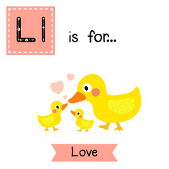 Cute children ABC alphabet L letter tracing flashcard of Love for kids learning English vocabulary in Valentines Day theme.