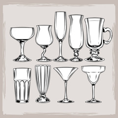 set of empty cocktail glasses