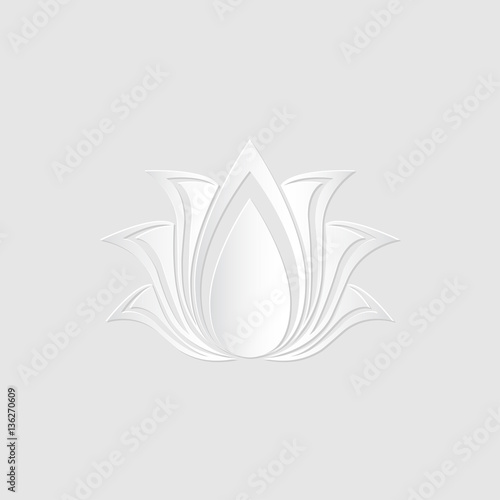 Abstract Vector Lotus Flower Silhouette Cut Out Of Paper Template For Design