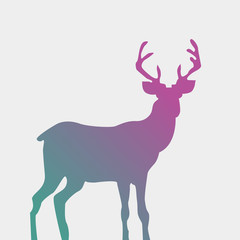 Watercolor-style deer silhouette isolated on white. Standing dee
