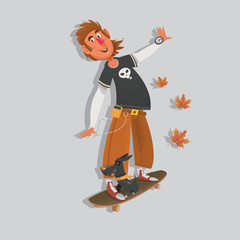 Hipster character on longboard. Vector illustration.