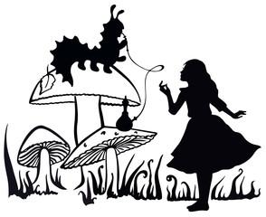 Alice in Wonderland ink sketch. Alice speaking with the smoking caterpillar: Alice's Adventures in Wonderland