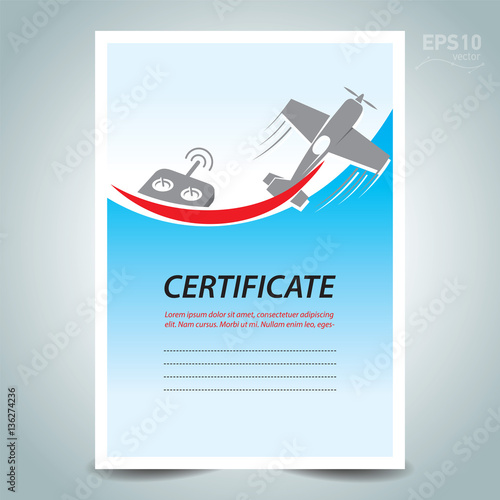 Airplane rc certificate template design vector flight air for First flight certificate template