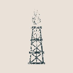 Image relative to oil mining industry. Gas tower icon. Grunge style vector illustration