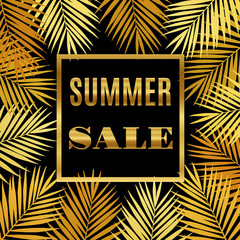 Summer sale background with gold palms. Vector illustration