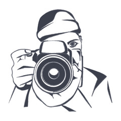 Photographer, charcoal drawing, vector