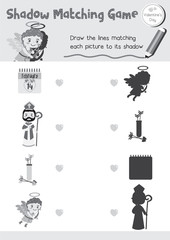 Shadow matching game for preschool kids activity worksheet in Valentines Day theme colorless printable version layout in A4.