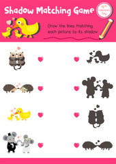Shadow matching game of animals for preschool kids activity worksheet in Valentines Day theme colorful printable version layout in A4.