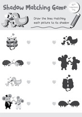 Shadow matching game of animals for preschool kids activity worksheet in Valentines Day theme colorless printable version layout in A4.