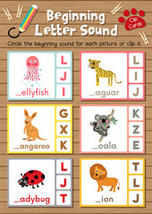 Clip cards matching game of beginning letter sound J, K, L for preschool kids activity worksheet in animals theme colorful printable version layout in A4.