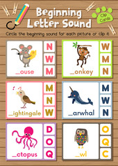 Clip cards matching game of beginning letter sound M, N, O for preschool kids activity worksheet in animals theme colorful printable version layout in A4.