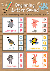 Clip cards matching game of beginning letter sound P, Q, R for preschool kids activity worksheet in animals theme colorful printable version layout in A4.