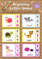 Clip cards matching game of beginning letter sound S, T, U for preschool kids activity worksheet in animals theme colorful printable version layout in A4.