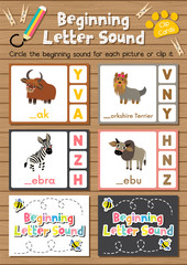 Clip cards matching game of beginning letter sound Y, Z for preschool kids activity worksheet in animals theme colorful printable version layout in A4.
