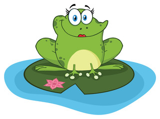 Frog Female Cartoon Mascot Character In A Pond. Illustration Isolated On White Background