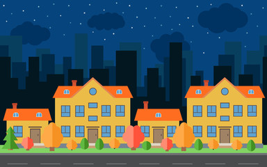 Vector night city with four cartoon houses and buildings. City space with road on flat style background concept. Summer urban landscape. Street view with cityscape on a background