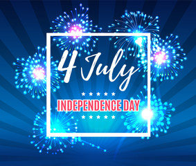 Independence day 4 th july. Happy independence day of USA with fireworks , Fourth of July . Vector illustration. EPS 10