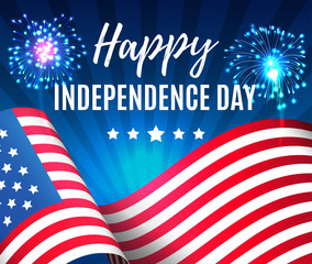 Independence day 4 th july. Happy independence day of USA with fireworks and flag , Fourth of July . Vector illustration. EPS 10