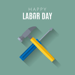 Happy Labor day Greetings Cards design Poster, banner, brochure, flyer. Flat style crossed screwdriver and hammer with long shadow.  Web banner or poster for e-commerce. Vector illustration. EPS 10
