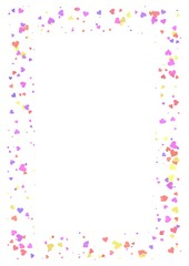 Abstract rectangle frame made of light colorful hearts on white background, A4 paper with love concept border, Valentine Day card