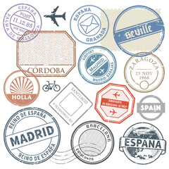 Travel stamps or adventure symbols set Spain theme, vector illus