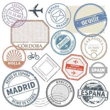 Travel stamps or adventure symbols set Spain theme, vector illus