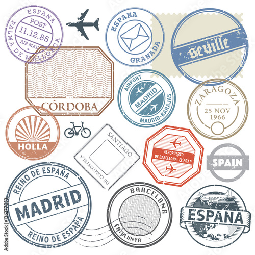 Travel Stamps Or Adventure Symbols Set Spain Theme Vector Illus