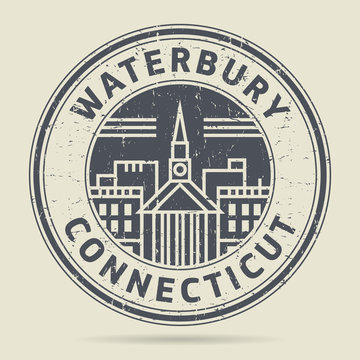 Grunge rubber stamp or label with text Waterbury, Connecticut