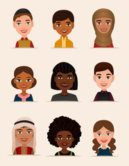 Happy young people avatar icon set