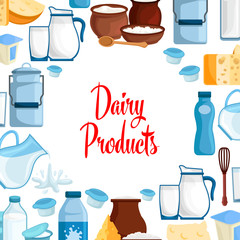 Dairy milk products vector poster