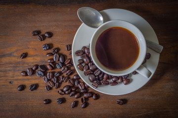Coffee on wood Table Background