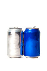 blue and silver cans of soda