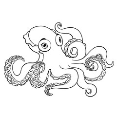 Lovely octopus contour line on white