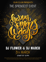 vector illustration of womens day poster with lettering - happy women s day, rhombus and doodle branches