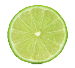 Half of the fruit of lime isolated on white background