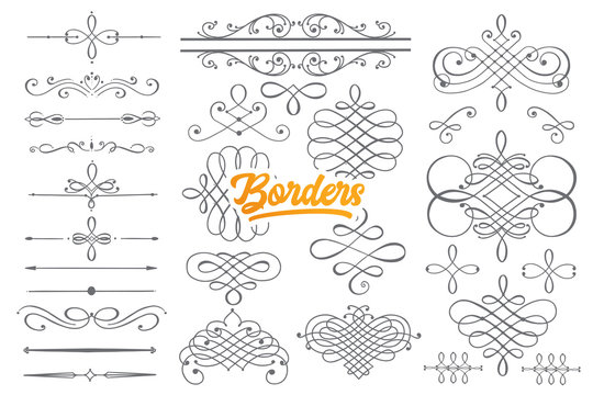 Hand drawn borders doodle set with orange lettering in vector