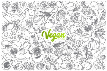 Hand drawn vegan food doodle set with green lettering in vector