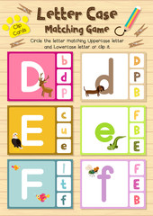 Clip cards matching game of letter case D, E, F for preschool kids activity worksheet in animals theme colorful printable version layout in A4.