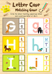 Clip cards matching game of letter case G, H, I for preschool kids activity worksheet in animals theme colorful printable version layout in A4.