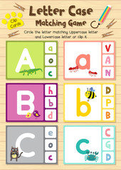Clip cards matching game of letter case A, B, C for preschool kids activity worksheet in animals theme colorful printable version layout in A4.