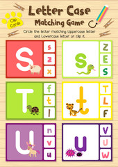 Clip cards matching game of letter case S, T, U for preschool kids activity worksheet in animals theme colorful printable version layout in A4.