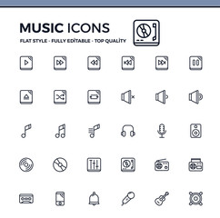 Simple set of Music related vector line icons for your design and interface.
